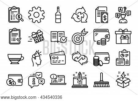 Vector Set Of Bombon Coffee, Recycle And Present Delivery Line Icons Set. Calendar Report, Money Wal