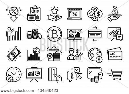 Vector Set Of Banking Money, Payment And Shopping Bags Line Icons Set. Calendar Report, Money Wallet