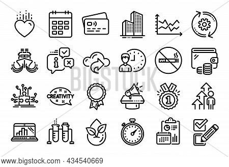 Vector Set Of Diagram Chart, Megaphone And Working Hours Line Icons Set. Calendar Report, Money Wall