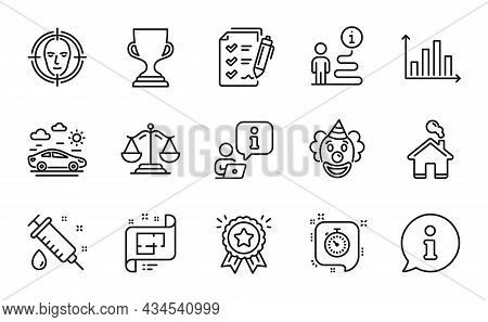 Business Icons Set. Included Icon As Diagram Graph, Car Travel, Clown Signs. Medical Syringe, Survey