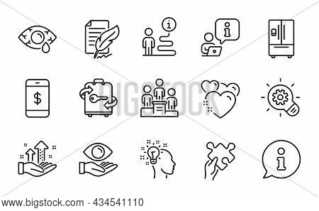 Business Icons Set. Included Icon As Smartphone Payment, Refrigerator, Business Podium Signs. Puzzle