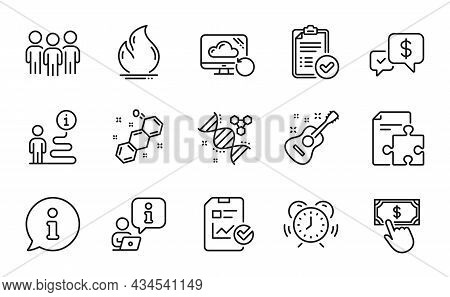 Education Icons Set. Included Icon As Payment Received, Report Checklist, Guitar Signs. Chemistry Dn