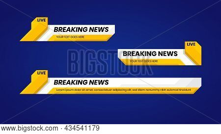 Breaking News Lower Third With Yellow And White. Title Bar Tv With Modern Design. Vector Illustratio