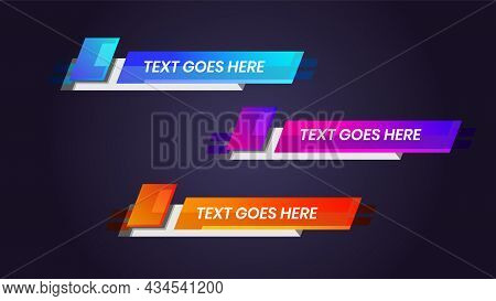 Vector Illustration Lower Third Template Breaking News Header. Graphic Set Of Broadcast News Banner