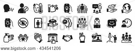 Set Of People Icons, Such As Group, Handshake, Delivery Market Icons. Smile Chat, Hold Box, Clapping