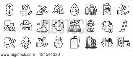 Set Of Business Icons, Such As Lightweight Mattress, Startup Rocket, Time Icons. Search, Global Busi