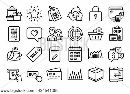 Vector Set Of Infographic Graph, Coupons And Edit Document Line Icons Set. Calendar Report, Money Wa