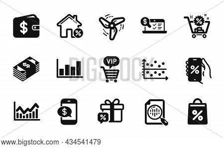 Vector Set Of Dollar Wallet, Dot Plot And Infochart Icons Simple Set. Discounts App, Phone Payment A
