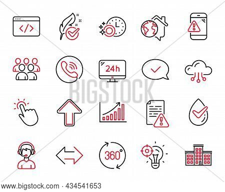 Vector Set Of Technology Icons Related To 360 Degrees, 24h Service And Approved Message Icons. Instr