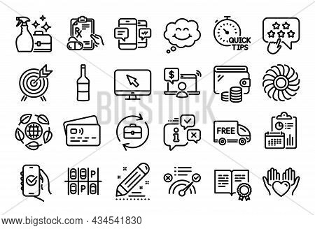 Vector Set Of Correct Answer, Brand Contract And Wine Line Icons Set. Calendar Report, Money Wallet