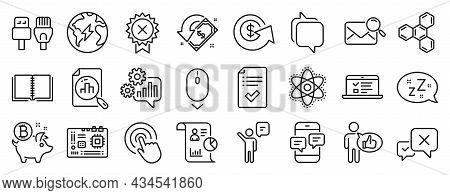 Set Of Technology Icons, Such As Bitcoin Coin, Motherboard, Approved Checklist Icons. Chemistry Atom