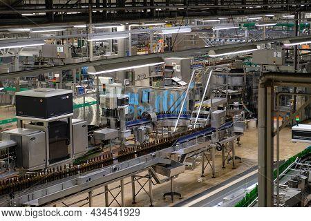 Pilsen, Czech Republic - September 17, 2021: Beer Brewery Pilsner Urquell Brewery Bottling Plant In