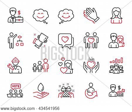 Vector Set Of People Icons Related To Smile, Winner Cup And Gift Icons. Businessman Case, Business G