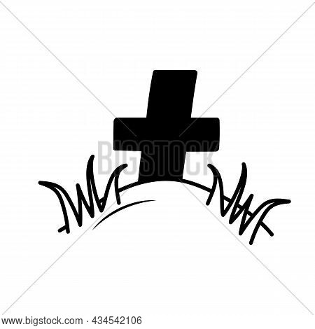 Grave With Cross And Grass In Doodle Style. Gloomy Sketch. Halloween Symbol. Grave In The Cemetery.