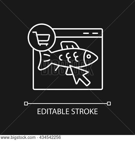 Online Fish Order White Linear Icon For Dark Theme