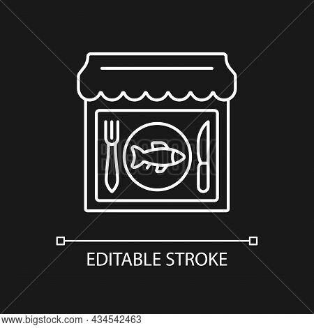 Seafood Restaurant White Linear Icon For Dark Theme