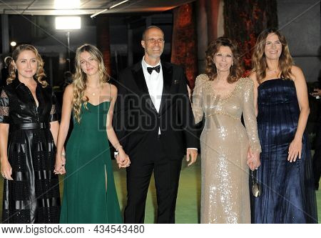 Eduardo Ponti, Sophia Loren, Roberta Armani and Sasha Alexander at the Academy Museum of Motion Pictures Opening Gala held in Los Angeles, USA on September 25, 2021.