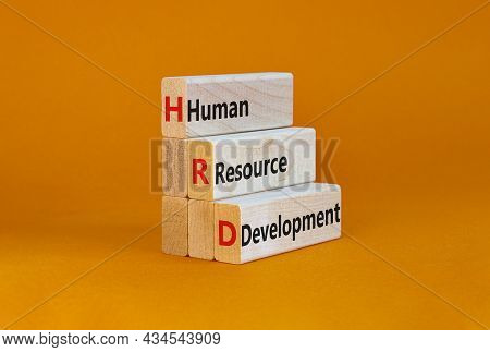 Hrd, Human Resource Development Symbol. Words Hrd, Human Resource Development Symbol On Blocks On A