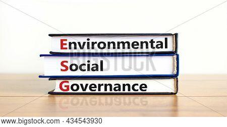 Esg Environmental Social Governance Symbol. Books With Words Esg Environmental Social Governance. Be