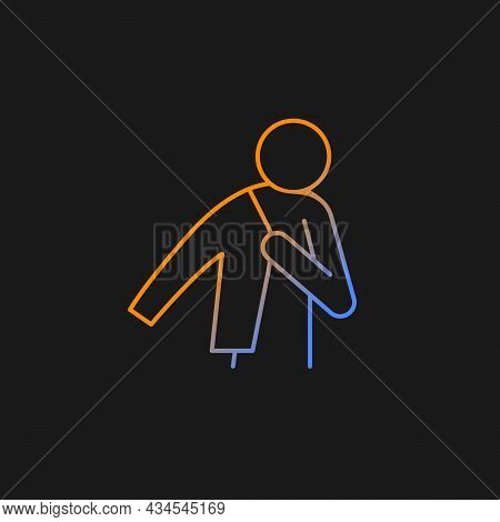 Dress Up Gradient Vector Icon For Dark Theme. Person Putting On Jacket. Man Getting Ready To Go To W