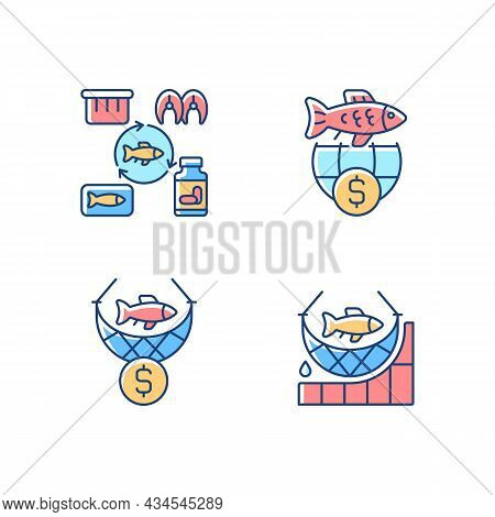 Fish Product Producing And Trade Rgb Color Icons Set. Commercial Fishing. Producing Seafood Products