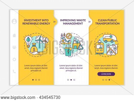 Reduce Carbon Emissions Onboarding Vector Template. Responsive Mobile Website With Icons. Web Page W