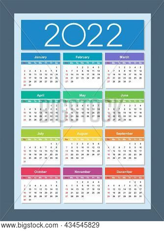 Colorful Calendar For 2022 Year. Week Starts On Sunday. Vertical. Isolated Vector Illustration.