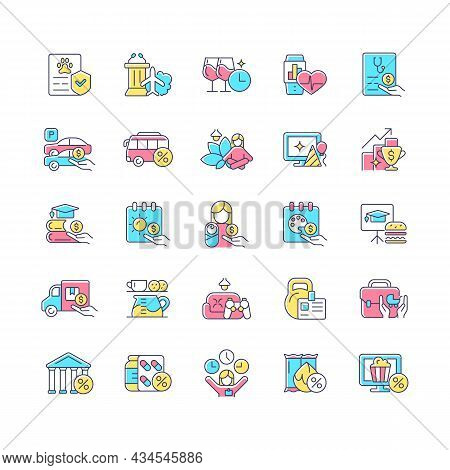 Employee Perks And Bonuses Rgb Color Icons Set. Workplace Benefits. Enhancing Worker Experience. Per