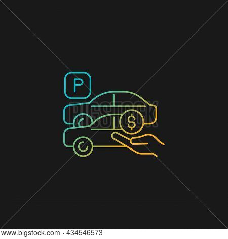 Free Parking Spots Gradient Vector Icon For Dark Theme. Provide Parking For Employees. Offering Priv