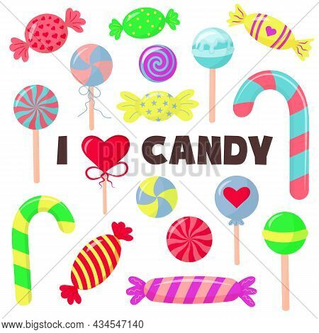 Sweets And Candies Set In Cartoon Style.  Lollipops, Cane, Sweetmeats And Chupa-chups. Cute Glossy S