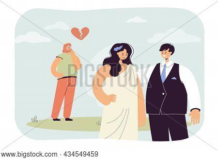 Broken Heart Of Sad Woman. Girl Looking At Ex Boyfriend Standing With Happy Wife Flat Vector Illustr