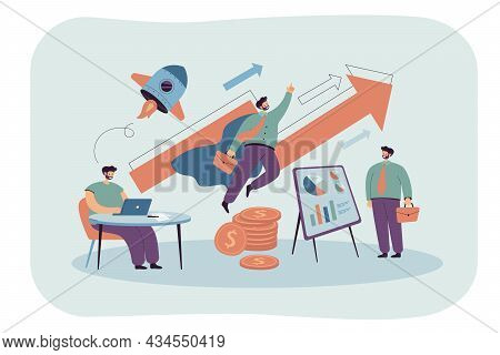 Businessman Working At Table And Flying Like Superhero. Man Presenting Ideas Or Innovation, And Beco
