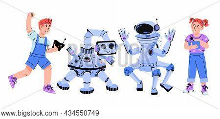 Children Build And Program Robots. Image For Teaching Children Robotics And Programming, Engineering