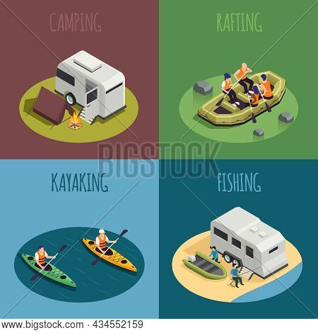 Rafting Canoeing Recreation Sport Isometric Compositions With Camping Campfire Tent Camper Fishing P