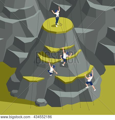 Sport Lead Climbing Indoor Outdoor Facilities Isometric Composition With Top Ropers Ascending Artifi