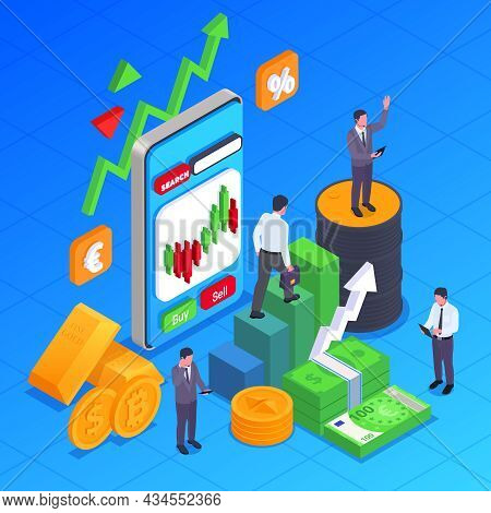 Stock Exchange Financial Market Trading Isometric Concept Various Symbols And Mechanisms Of Working