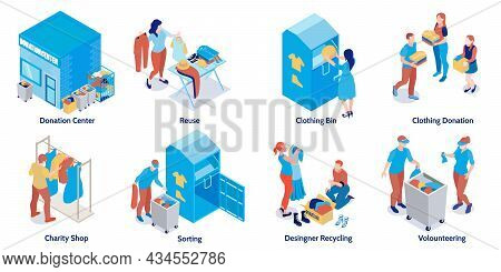 Isometric Compositions Set With Donation Centre Charity Shop People Sorting Reusing Recycling Donate