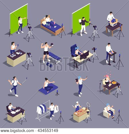 Popular Video Bloggers Isometric Set With Fitness Yoga Cooking Products Presentation Beauty Travel F
