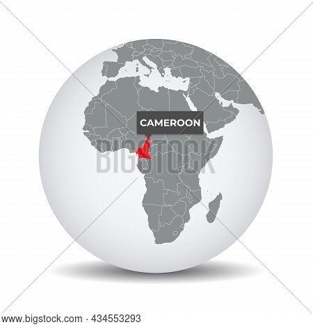 World Globe Map With The Identication Of Cameroon. Map Of Cameroon. Cameroon On Grey Political 3d Gl