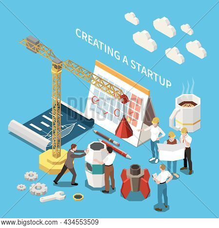 Startup Project Isometric Colored Concept With Creating A Startup Descriptions And Cup Of Coffee Mar