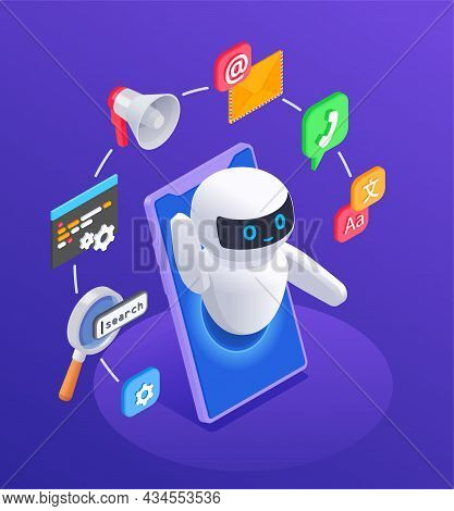 Chatbot Messenger Concept With Options And Functions Symbols Isometric Vector Illustration