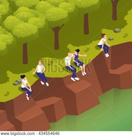 Sitting People Isometric Composition With Outdoor River Bank Landscape And Faceless Human Characters