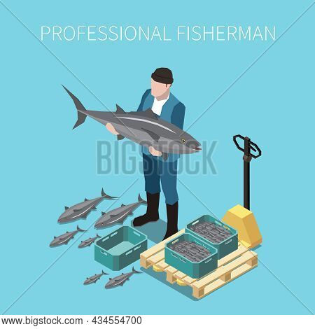 Industrial Fishing Fresh Capture Seafood Auction Market Sale Isometric Composition With Fisherman Ho