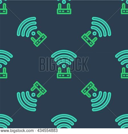 Line Router And Wi-fi Signal Icon Isolated Seamless Pattern On Blue Background. Wireless Ethernet Mo