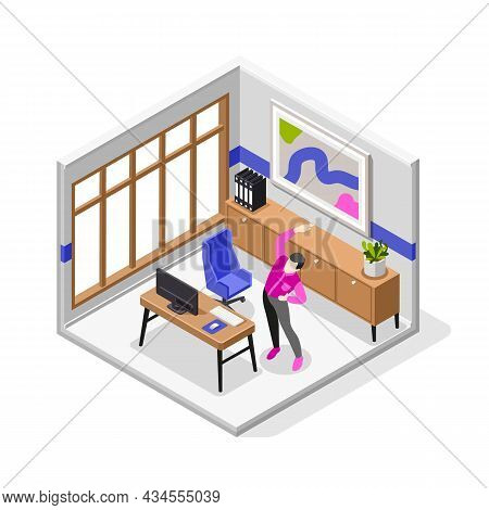 Office Stretches Isometric Vector Illustration With Male Character Doing Body Workout For Healthy Ba