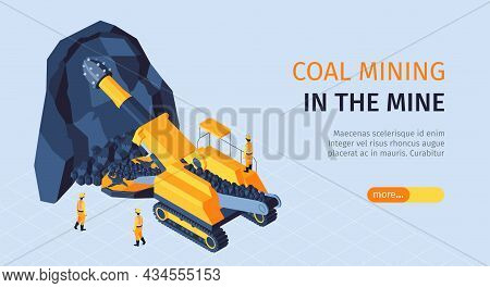 Coal Mining Industry Isometric Horizontal Web Banner With Ore Crushing Extraction Machinery Miners I