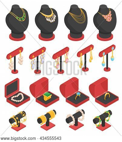 Isometric Jewelry Set With Isolated Necklaces Earrings Rings And Bracelets On Stands And In Boxes 3d