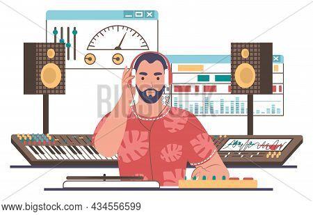 Sound Designer, Engineer, Editor Creating Music In Studio, Flat Vector Illustration. Sound And Music
