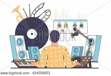 Sound Designer, Engineer Creating, Mixing, Recording Music, Flat Vector Illustration. Sound Producti