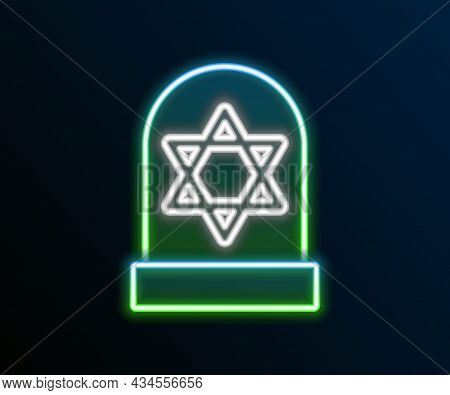 Glowing Neon Line Tombstone With Star Of David Icon Isolated On Black Background. Jewish Grave Stone